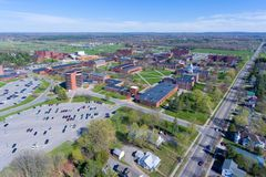 Aerial view of SUNY Potsdam, Potsdam, NY, USA. Aerial view of State University of New York at Potsdam SUNY Potsdam in downtown Potsdam, Upstate New York, USA Royalty Free Stock Photo