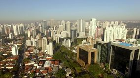 Aerial view of the super crowded, populated, and busy Sao Paulo city in the Brazil. Showcasing the sea of buildings that characterize its world wide known stock video