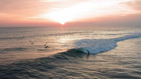 Aerial View of Surfer Riding sunset Ocean Wave. Drone 4k shot surfing ocean lifestyle, extreme sports. stock footage