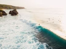 Aerial view with surfers and barrel wave in ocean, Padang Padang. Aerial view with surfers and barrel wave in ocean Royalty Free Stock Photo