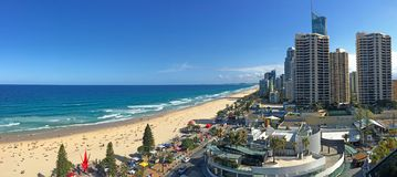 Aerial view of Surfers paradise CBD and beach. Surfers Paradise is a seaside resort on Queensland Gold Coast in eastern Australia royalty free stock photos