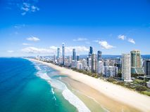 An aerial view of Surfers Paradise on a clear day. Surfers Paradise skyline on Queensland& x27;s Gold Coast from an elevated aerial perspective looking up the Stock Photo