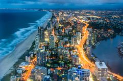 Aerial view of Surfers Paradise in Gold Coast, Australia stock images