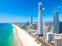 Surfers Paradise aerial view on a clear day with blue water stock photography