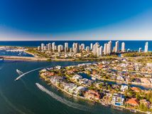 Aerial view of Surfers Paradise and Southport on the Gold Coast, Royalty Free Stock Photography