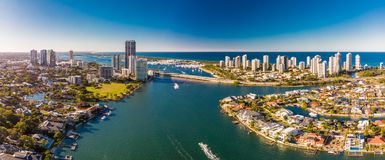 Aerial view of Surfers Paradise and Southport on the Gold Coast, Stock Photo