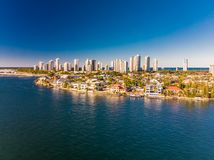 Aerial view of Surfers Paradise and Southport on the Gold Coast, Royalty Free Stock Image