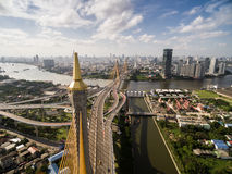 Aerial view of suspension bridge Bangkok city Royalty Free Stock Images