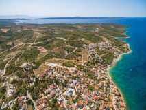 Aerial view of small bay in the Adriatic Stock Photos