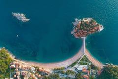 Aerial view of Sveti Stefan island in Budva royalty free stock photos