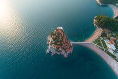 Aerial view of Sveti Stefan island in Budva royalty free stock image