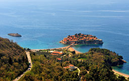 Aerial view of Sveti Stefan island Royalty Free Stock Images