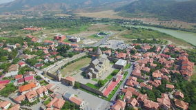 Aerial view of Svetitskhoveli cathedral in Mtskheta stock video footage