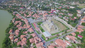 Aerial view of Svetitskhoveli cathedral in Mtskheta stock video