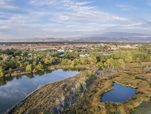 Aerial view of swamp natural area Stock Photos