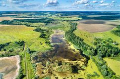 Aerial view of swamps in Kursk Oblast of Russia. Aerial view of swamps in Central Black Earth Region - Kursk Oblast, Russia Royalty Free Stock Photos
