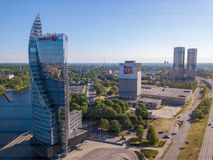 Aerial view on the Swedbank skyscraper. May 30, 2018. Riga, Latvia. Aerial view on the Swedbank skyscraper Stock Image
