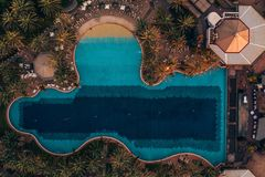 Aerial view of the swimming pool from above. Beautiful view from Above