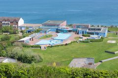 Aerial view swimming pool German island Helgoland in Northsea. Aerial view swimming pool at German island Helgoland in Northsea stock image