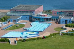 Aerial view swimming pool German island Helgoland in Northsea. Aerial view swimming pool at German island Helgoland in Northsea stock images