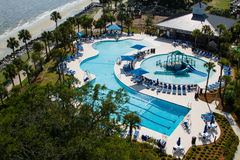 Aerial view of a swimming pool park. Royalty Free Stock Image