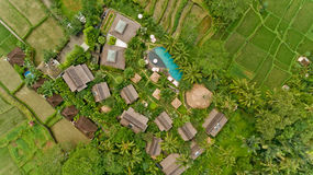 Aerial view of swimming pool. In a typical villas stock photo