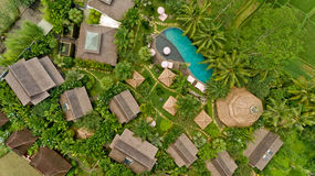 Aerial view of swimming pool. In a typical villas royalty free stock image