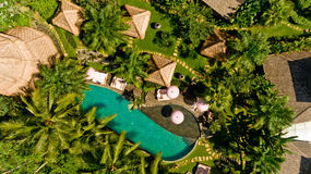 Aerial view of swimming pool. In a typical villas royalty free stock images