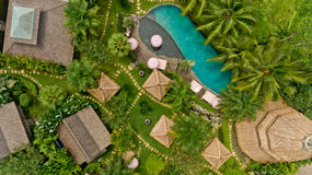 Aerial view of swimming pool. In a typical villas stock photography