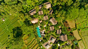 Aerial view of swimming pool. In a typical villas stock photos