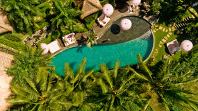 Aerial view of swimming pool. In a typical villas royalty free stock photo