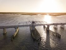 Aerial view of swing draw bridge over water Stock Images