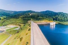 Aerial view of Swinna Poreba water reservoir Royalty Free Stock Photo