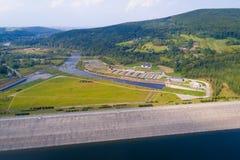 Aerial view of Swinna Poreba water reservoir Stock Photography