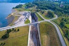 Aerial view of Swinna Poreba water reservoir Royalty Free Stock Images