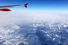 Aerial view of the Swiss Alps from plane Stock Photography