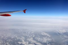 Aerial view of the Swiss Alps from plane Royalty Free Stock Photography