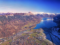 Aerial view Swiss city Interlaken. In winter Stock Photos