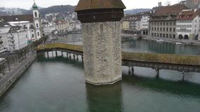 Aerial view of Swiss city Lucerne on a cold winter day. stock footage