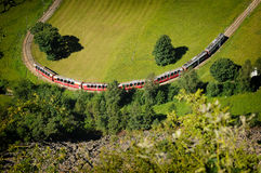Aerial view of Swiss Red Train Bernina Express Stock Photo
