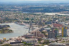 Aerial view of Sydney with Anzac bridge and north suburbs. Of Annandale, Rozelle and Balmain. Sydney, Australia royalty free stock photography