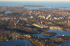 Aerial view of Sydney Australia. Aerial view of north shore suburbs of Sydney from Chatswood to Manly and North and South Head, Australia Royalty Free Stock Photo