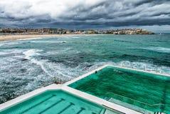 Aerial view of Sydney Bondi Beach Pools Stock Photos
