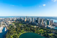 Aerial view on Sydney CBD and Royal Botanic Gardens Stock Images