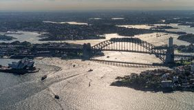 Aerial view of Sydney Harbor and Kirribilli with backlight, Aust. Ralia Royalty Free Stock Photos