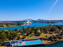 Sydney Skyline and Harbour. Aerial view on the Sydney harbour from above with city skyline, botanic garden, park and of course the Harbour bridge Stock Photo