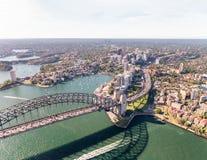 Aerial view of Sydney Harbour Bridge, NSW Australia Stock Photography