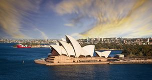 Aerial view of Sydney Opera House and skyline at sunset in Sydney, Australia stock image