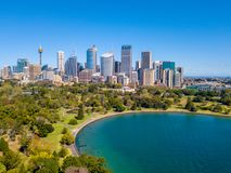 Aerial View of the Sydney Skyline and Harbour. Aerial view on the Sydney harbour from above with city skyline, botanic garden, park and of course the Harbour Royalty Free Stock Image