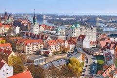 Aerial view of Szczecin Stettin city downtown, Poland Royalty Free Stock Photos